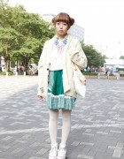 Japanese Girl's Double Bun Hairstyle, Knit Sweater, Gingham Skirt & Platform Converse