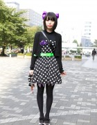 Giant Purple Hairbow, Polka Dot Dress, 6%DOKIDOKI & Angelic Pretty in Shinjuku