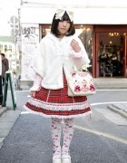 Japanese Lolita's Baby The Stars Shine Bright Red Tartan JSK in Harajuku