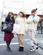 Rii & Maho (+ Riho) Wearing White Cable Knit Sweaters in Harajuku