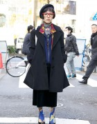 Harajuku Girl's Black Beret, Comme Ca Ism Coat & Yes/No Shoes