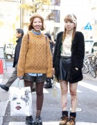 Cable Knit Sweater, Leather Shorts & Dr. Martens in Harajuku