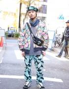 Life's a Beach Pants & Beret w/ Ear Spike in Harajuku