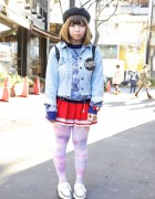 Harajuku Girl w/ Eyeball Bow, Cheerleader Skirt & Creepers