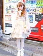 Manapyon in Harajuku w/ MXE Apron, Katyusha, Pink Braids & Hello Kitty