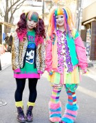 Bright Rainbow-colored Harajuku Decora Girls Maimai & Marina