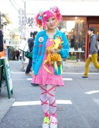 Kumamiki's Pink & Orange Hair, Sweet Accessories & Platforms in Harajuku