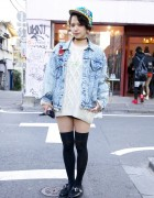 Una from Bubbles Harajuku in Acid Wash, Cable Knit & Creepers