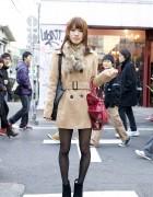 Girl's Short ANAP Coat, Fur Collar & INGNI Handbag
