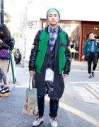 Terry from Bubbles Harajuku in Vintage Stadium Jacket & Creepers