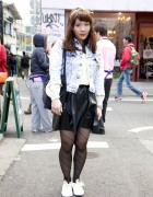 Akari's Acid Wash Jacket, I Am I Skirt & Ribbon Shoe Laces in Harajuku