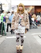 Girl's Faux Fur Jacket & World Wide Love Miniskirt