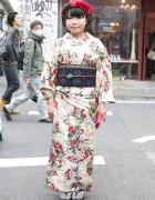 Tokyo135° Kimono & Cute Bow Beret in Harajuku