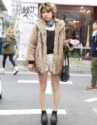 Harajuku Girl's Lace Remake Shorts & Nomine Fur Jacket