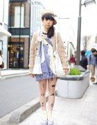 Harajuku Girl's Vintage Fashion, Tattoo Tights & Platform Converse