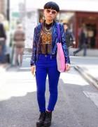 Sequin Jacket, Leopard Print, Spikes & Smurfs in Harajuku
