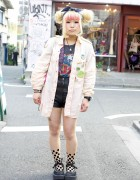 Harajuku Girl's Banana Republic Safari Shirt & Tattoo Tights