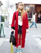 Girl's Red Velvet Robe, Lace Corset & Polka Dot Tights