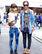 Gyda Patched Jeans & Creepers vs. WC by Wakatsuki Chinatsu Shirt & One Way Sandals