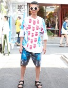 Bodysong Top & Board Shorts w/ Lanvin Sandals