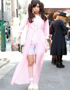 Twintails, Pink Chiffon Robe & Cute Lace Bloomers in Harajuku