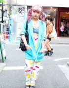 Pink Hair, Studded Glad News Shoes & Gyda Tube Top in Harajuku