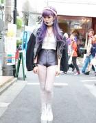 Juria's Lavender Hair, Choco Moo Tights & Tokyo Bopper in Harajuku