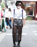 Gerobetya's Long Lace Skirt, Silver Shorts & Boots in Harajuku