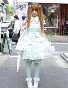 Mint Lolita w/ h.NAOTO Frill Dress & Angel Wings Backpack in Harajuku