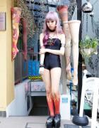 Juria Nakagawa in Avantgarde Harajuku Flame Tights & Jeffrey Campbell