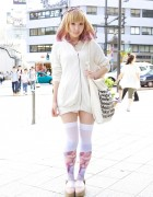 Cutout Hoodie, Pink-Tipped Hair & Graphic Thigh Highs in Harajuku
