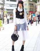 Aris Mukaide in Harajuku w/ Braids, Sheer Skirt & Vintage Pocket Watch Necklace