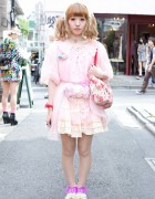 Harajuku Girl's Pretty Pink Kinji Robe, Ruffled Skirt & Strawberry Shortcake Bag