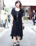 Comme des Garcons Dipped Hem Dress & Tokyo Bopper Ankle Strap Shoes
