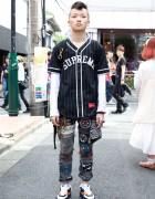 Mohawk Hair, Supreme Baseball Shirt & Handmade Patched Jeans