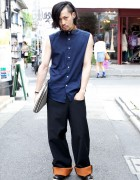 Guy's Raf Simons Metal Collar Shirt & Contrast Cuff Pants