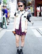 Bright Romantic Standard Dress & Remade Painted Denim Vest