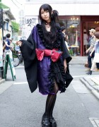 Kimono-inspired Gothic Fashion, Purple-streaked Hair & h.NAOTO in Harajuku