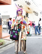 Maro Broken Doll's Purple Hair & Harajuku-Meets-Traditional Japanese Fashion