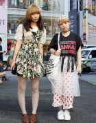 Harajuku Girls in Chintz Lace-Up Dress, Chiffon Gown & Dotted Pajama Pants