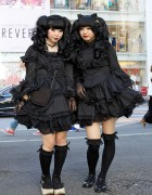 Gothic Harajuku Street Fashion Girls in Matching All-Black Outfits