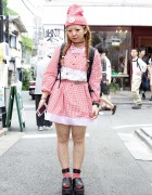 Cute Himitsu Kessya Gingham Style, Polka Dots & Braids in Harajuku