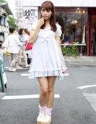 Cute Nile Perch Pastel Dress & Ruffle Socks in Harajuku
