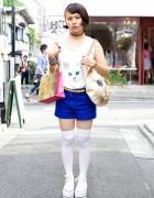 Harajuku Girl's Shaved Hairstyle, Choker & Ahcahcum Muchacha Cat Bag