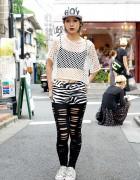 Nadia Harajuku Yui w/ Spiked Cap, Zebra Shorts & Vivienne Westwood