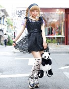 Cute Panda w/ Harajuku Girl in Braids, Lace Dress & Candy Stripper