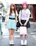Harajuku Girls w/ Faux Leather Skirt, Disney Tights & Heart Jewelry