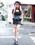 Juria Nakagawa w/ KTZ Horn Beret, Leather Skirt & Spikes