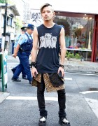 Harajuku Punk Rocker In Evil Kitties Top, Leopard Print & Creepers