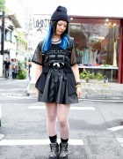 All Black Outfit w/ Blue Hair, Studs, Faux Leather & Monomania